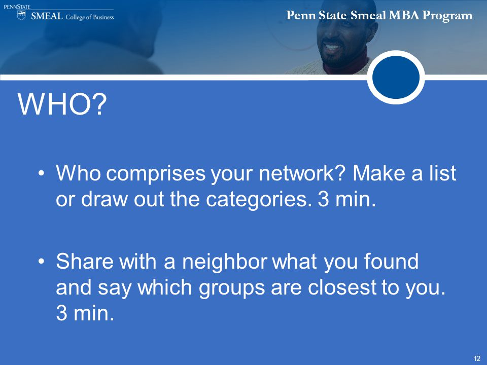 Penn State Smeal MBA Program 12 WHO? Who comprises your network? Make a list or draw out the categories. 3 min. Share with a neighbor what you found a