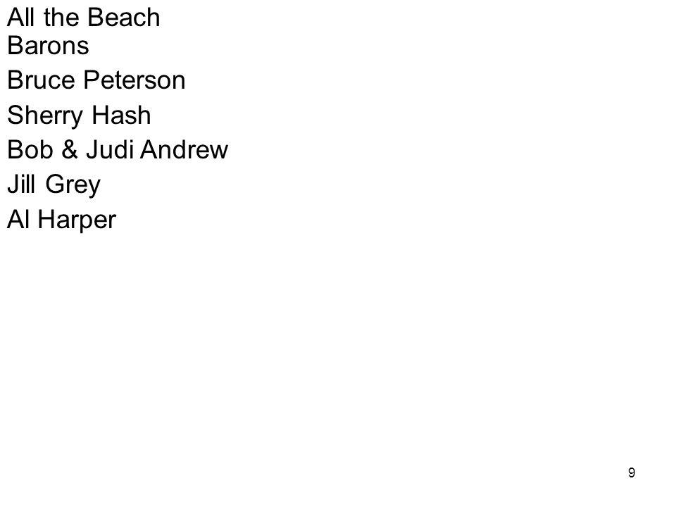 9 All the Beach Barons Bruce Peterson Sherry Hash Bob & Judi Andrew Jill Grey Al Harper