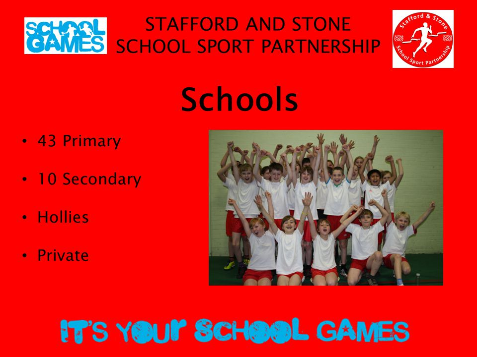 STAFFORD AND STONE SCHOOL SPORT PARTNERSHIP FOCUS AREAS Active Lifestyles Competition Leadership Projects