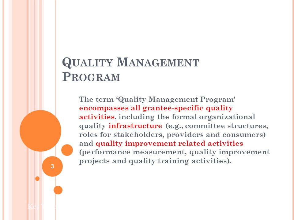 Q UALITY M ANAGEMENT P ROGRAM The term Quality Management Program encompasses all grantee-specific quality activities, including the formal organizational quality infrastructure (e.g., committee structures, roles for stakeholders, providers and consumers) and quality improvement related activities (performance measurement, quality improvement projects and quality training activities).