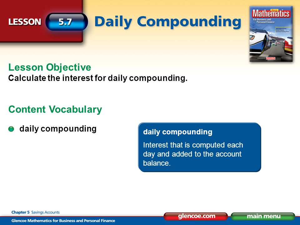 daily compounding Interest that is computed each day and added to the account balance.