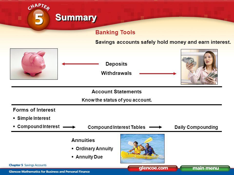 SummarySummary Banking Tools Savings accounts safely hold money and earn interest.