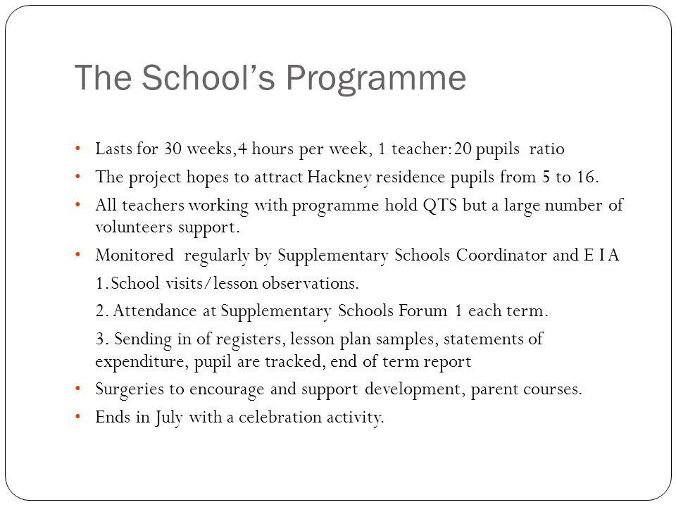 The Schools Programme Lasts for 30 weeks,4 hours per week, 1 teacher:20 pupils ratio The project hopes to attract Hackney residence pupils from 5 to 16.