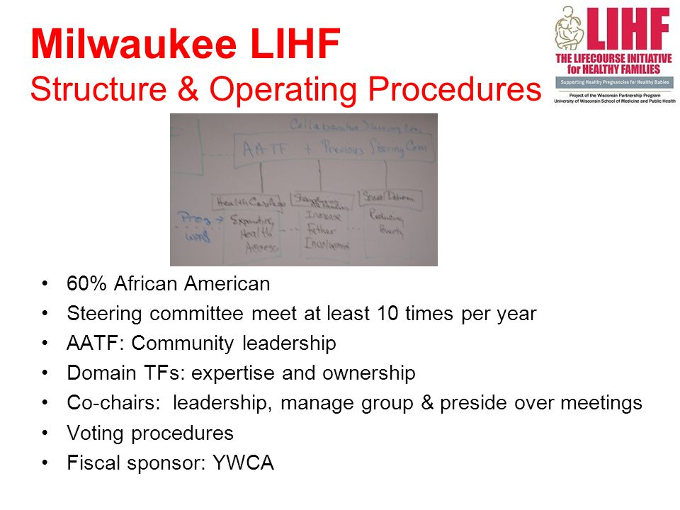 60% African American Steering committee meet at least 10 times per year AATF: Community leadership Domain TFs: expertise and ownership Co-chairs: leadership, manage group & preside over meetings Voting procedures Fiscal sponsor: YWCA Milwaukee LIHF Structure & Operating Procedures