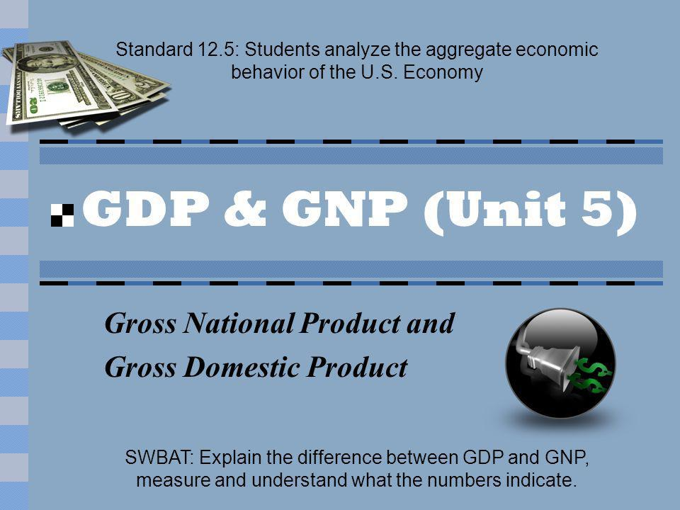 GDP & GNP (Unit 5) Gross National Product and Gross Domestic Product Standard 12.5: Students analyze the aggregate economic behavior of the U.S.