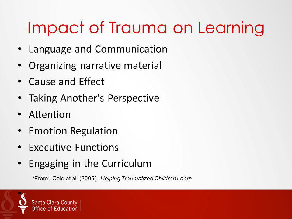 Impact of Trauma on Learning Language and Communication Organizing narrative material Cause and Effect Taking Another's Perspective Attention Emotion