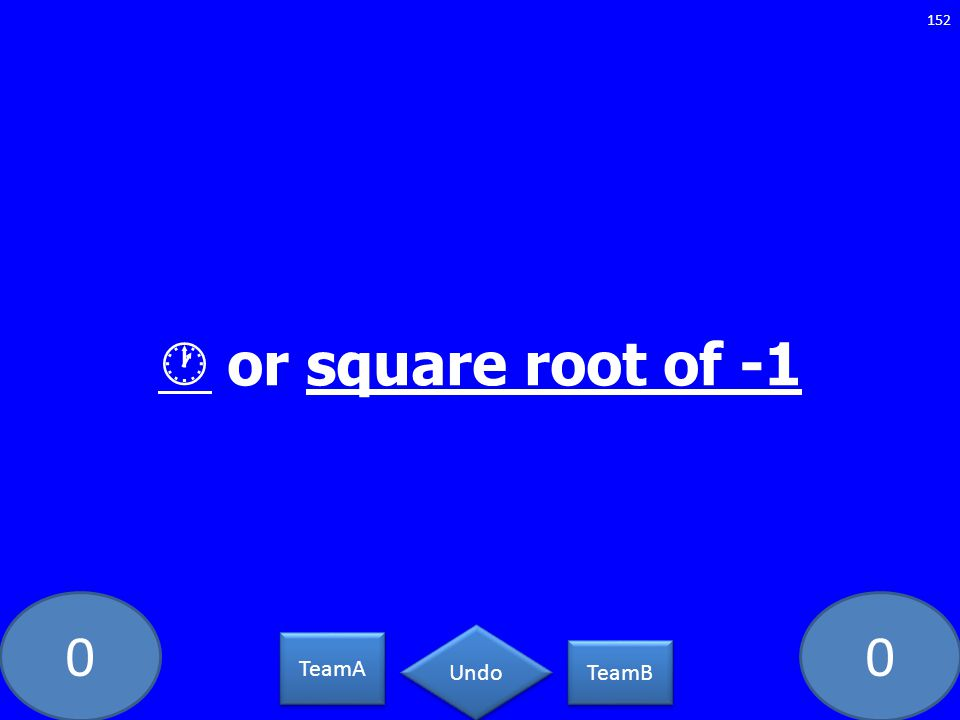 00 or square root of -1 152 TeamA TeamB Undo
