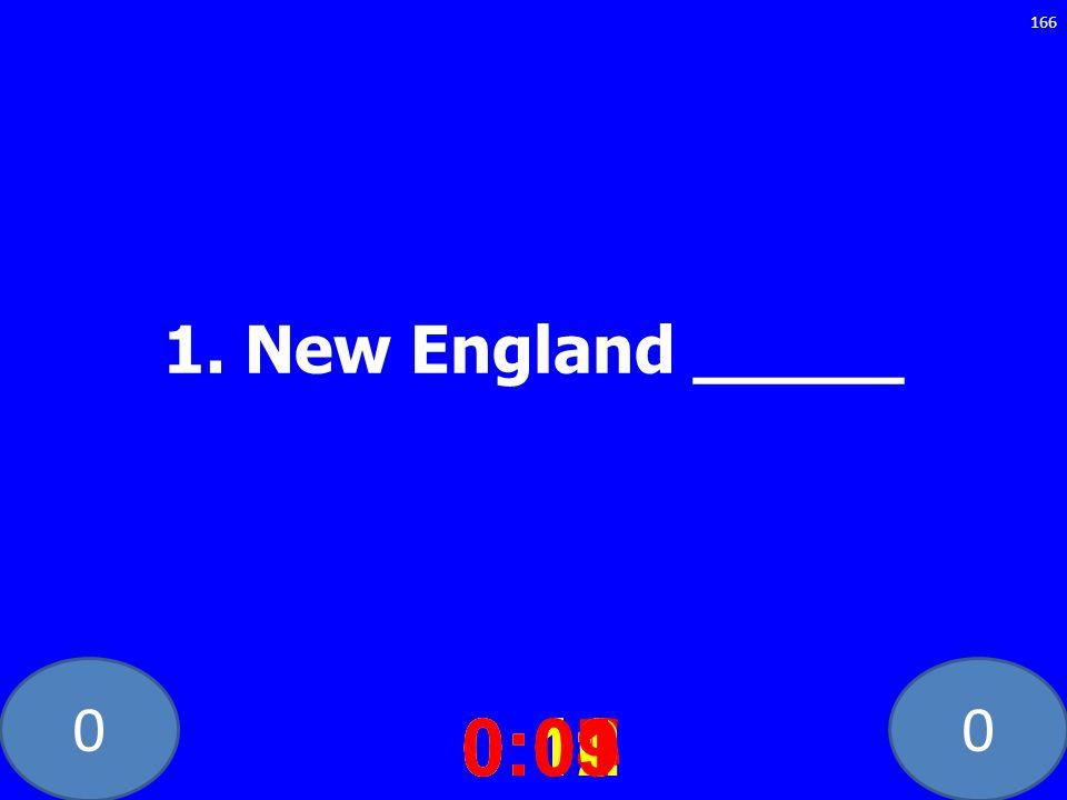 00 1. New England _____ 0:020:030:040:050:060:070:080:100:110:120:090:01 166
