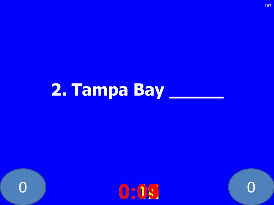 00 2. Tampa Bay _____ 0:020:030:040:050:060:070:080:100:110:120:090:01 167