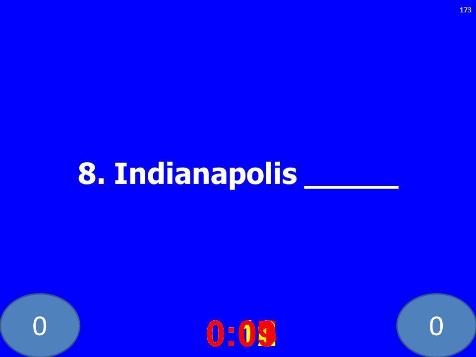 00 8. Indianapolis _____ 0:020:030:040:050:060:070:080:100:110:120:090:01 173