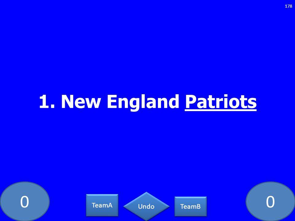 00 1. New England Patriots 178 TeamA TeamB Undo
