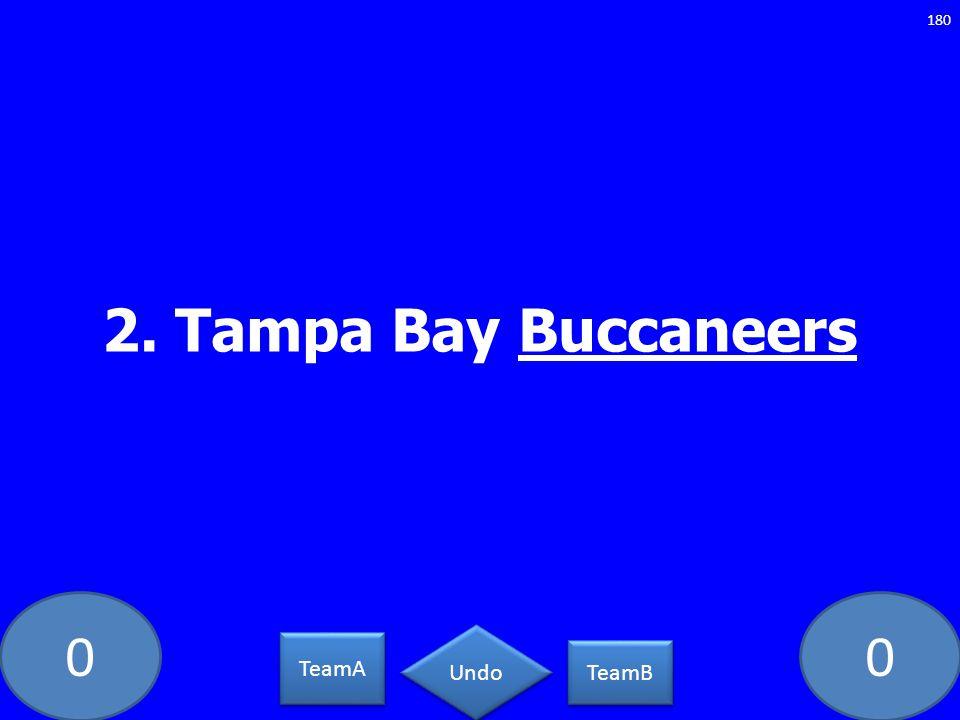 00 2. Tampa Bay Buccaneers 180 TeamA TeamB Undo