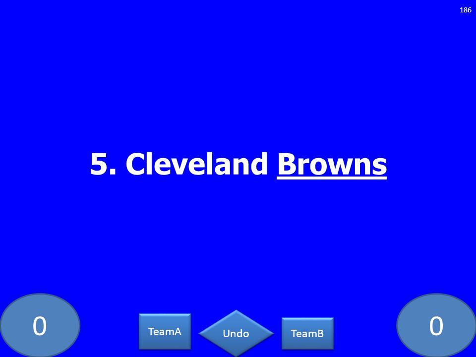 00 5. Cleveland Browns 186 TeamA TeamB Undo