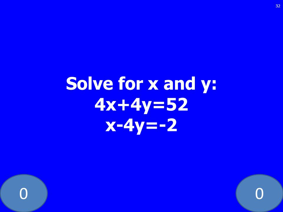 00 32 Solve for x and y: 4x+4y=52 x-4y=-2