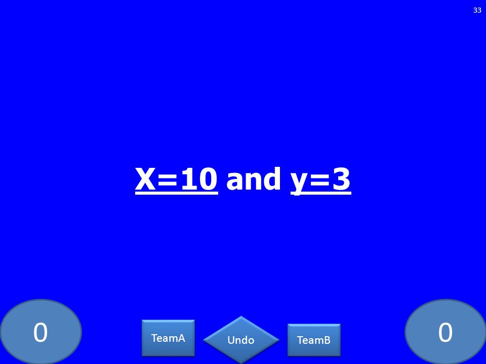 00 33 TeamA TeamB Undo X=10 and y=3