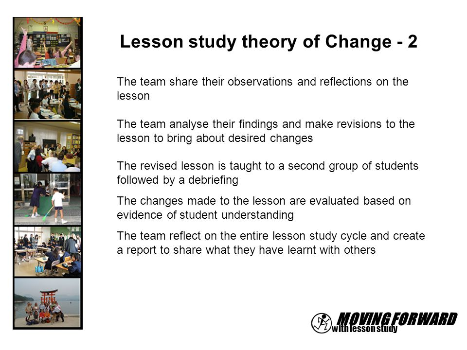 MOVING FORWARD with lesson study Lesson study theory of Change - 2 The team share their observations and reflections on the lesson The team analyse th