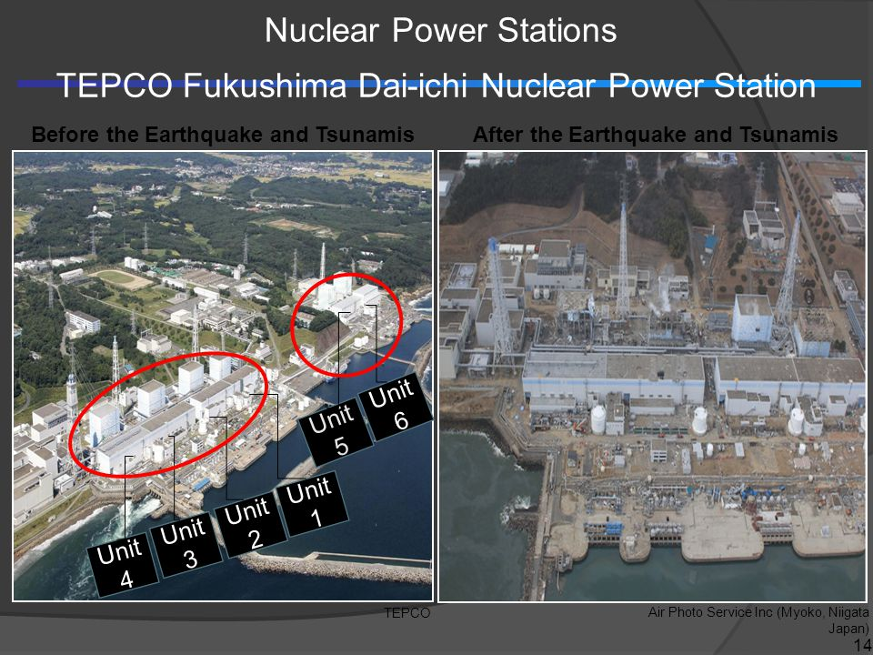 Unit 4 Unit 3 Unit 1 Unit 2 Unit 5 Unit 6 TEPCO Air Photo Service Inc (Myoko, Niigata Japan) Before the Earthquake and TsunamisAfter the Earthquake and Tsunamis Nuclear Power Stations TEPCO Fukushima Dai-ichi Nuclear Power Station 14