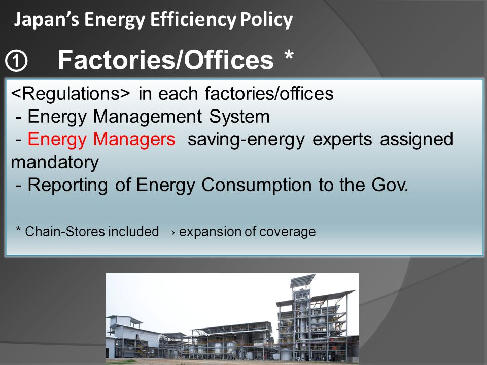 Encouraging Energy Management System in every factory/ Energy managers must be assigned in every factory/ office office with a certain quantity of energy consumption.