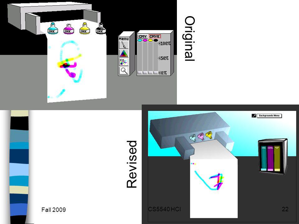 Two Up Comparison Original Revised Fall 2009 22CS5540 HCI
