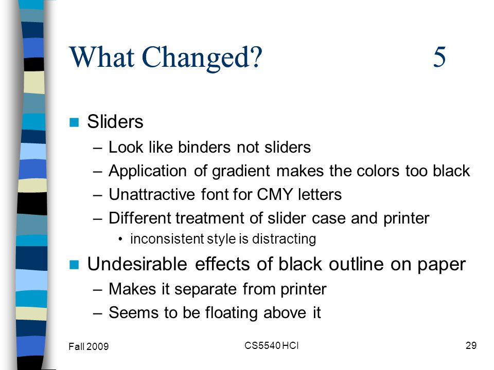 What Changed? 5 Sliders –Look like binders not sliders –Application of gradient makes the colors too black –Unattractive font for CMY letters –Differe