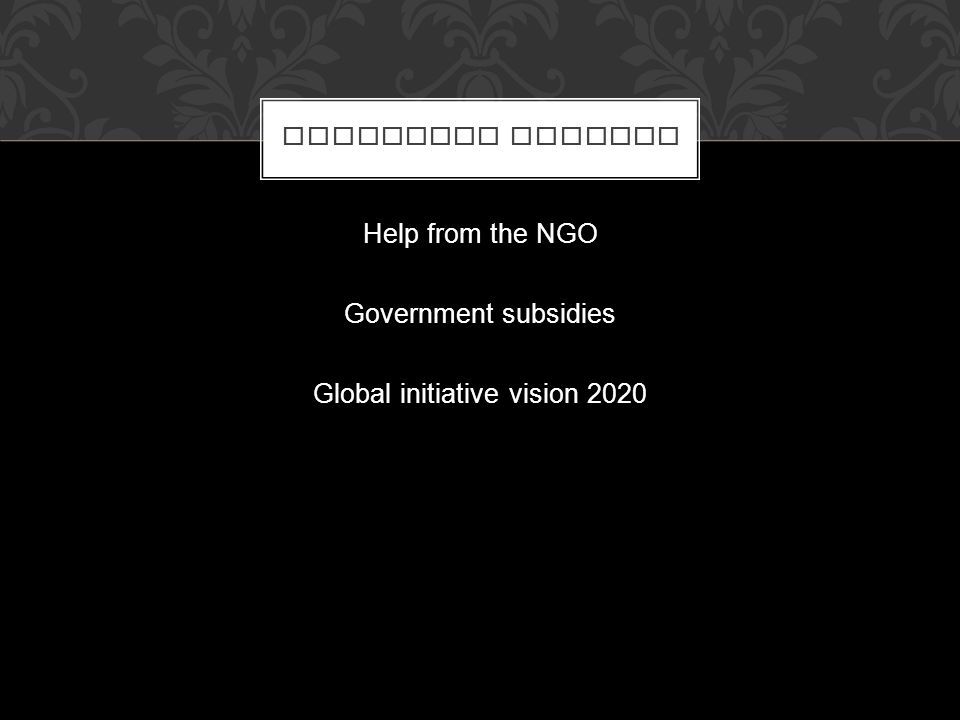 Help from the NGO Government subsidies Global initiative vision 2020 FINANCIAL SUPPORT