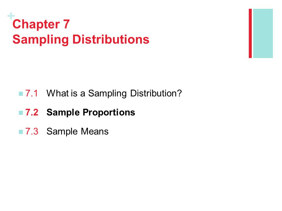+ Chapter 7 Sampling Distributions 7.1What is a Sampling Distribution.