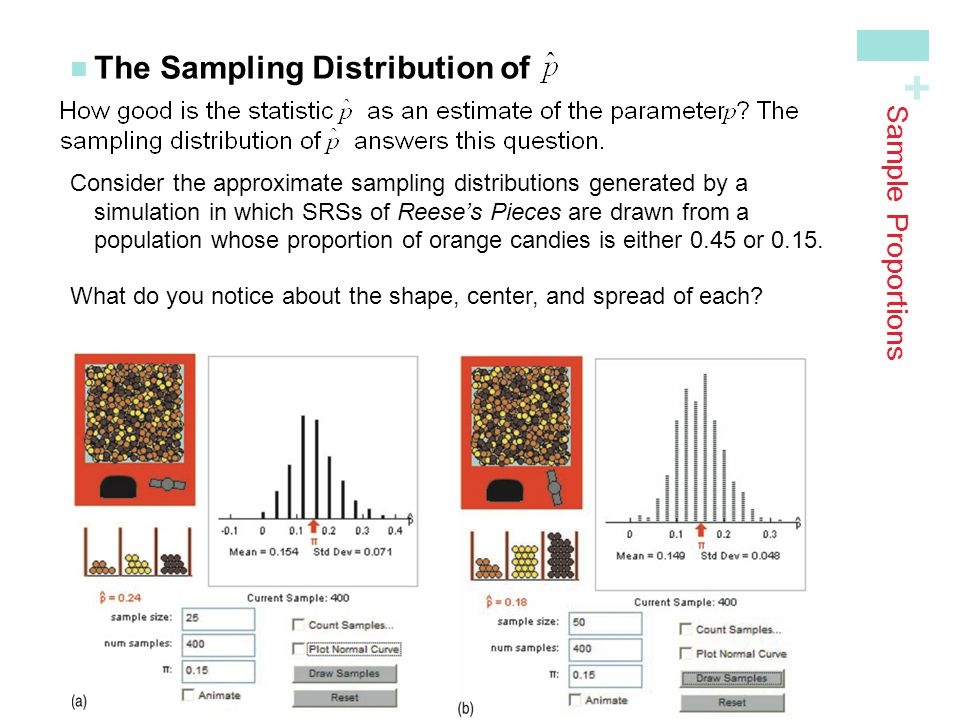 + Sample Proportions The Sampling Distribution of Consider the approximate sampling distributions generated by a simulation in which SRSs of Reeses Pi