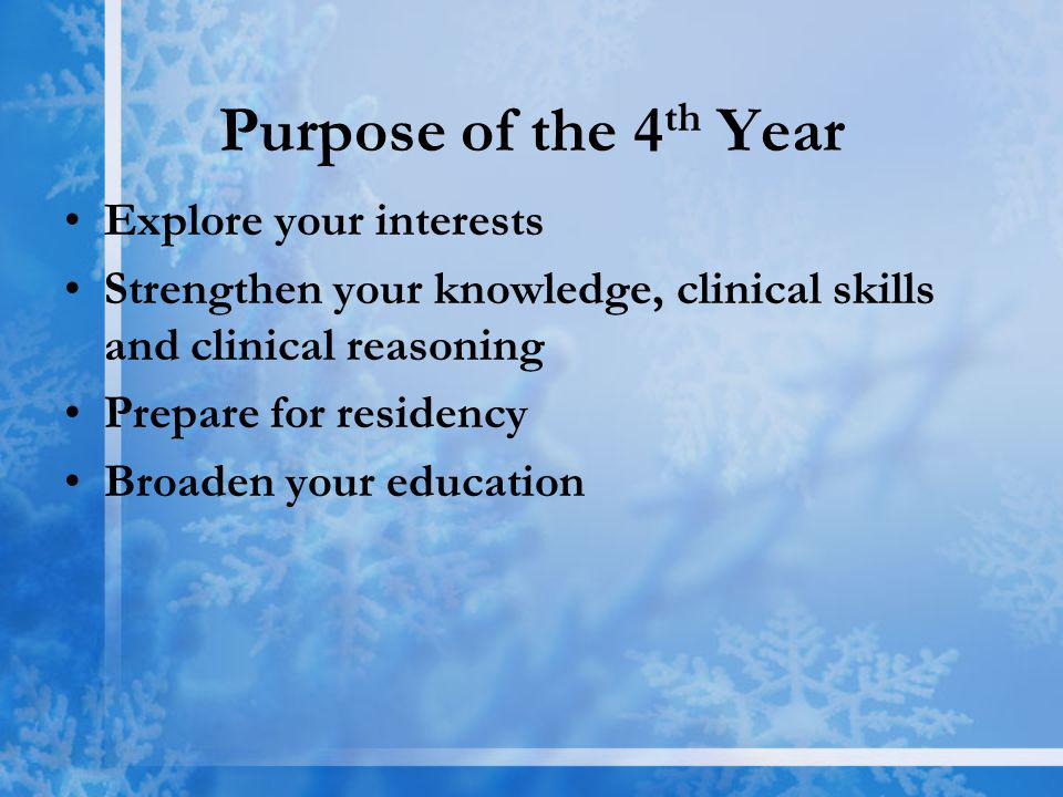 Purpose of the 4 th Year Explore your interests Strengthen your knowledge, clinical skills and clinical reasoning Prepare for residency Broaden your education