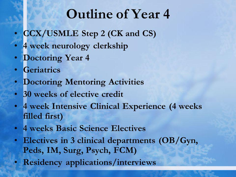 Outline of Year 4 CCX/USMLE Step 2 (CK and CS) 4 week neurology clerkship Doctoring Year 4 Geriatrics Doctoring Mentoring Activities 30 weeks of elective credit 4 week Intensive Clinical Experience (4 weeks filled first) 4 weeks Basic Science Electives Electives in 3 clinical departments (OB/Gyn, Peds, IM, Surg, Psych, FCM) Residency applications/interviews