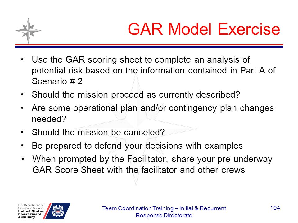 GAR Model Exercise Use the GAR scoring sheet to complete an analysis of potential risk based on the information contained in Part A of Scenario # 2 Sh