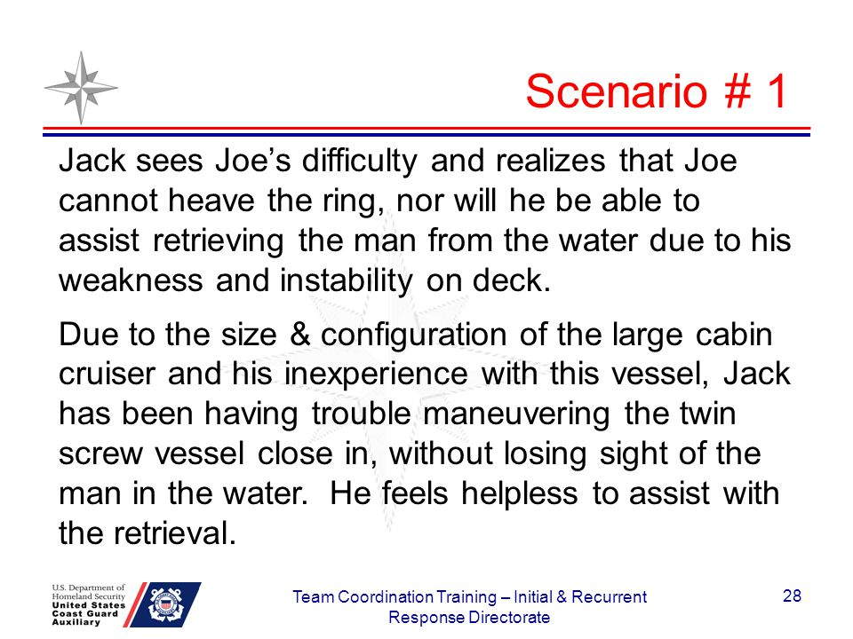 Jack sees Joes difficulty and realizes that Joe cannot heave the ring, nor will he be able to assist retrieving the man from the water due to his weak