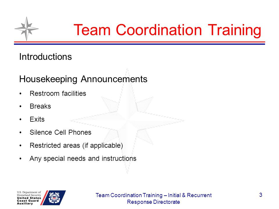 3 Team Coordination Training Introductions Housekeeping Announcements Restroom facilities Breaks Exits Silence Cell Phones Restricted areas (if applic