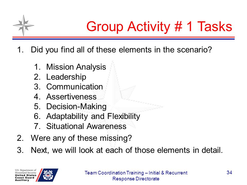 Group Activity # 1 Tasks 1.Did you find all of these elements in the scenario? 1.Mission Analysis 2.Leadership 3.Communication 4.Assertiveness 5.Decis