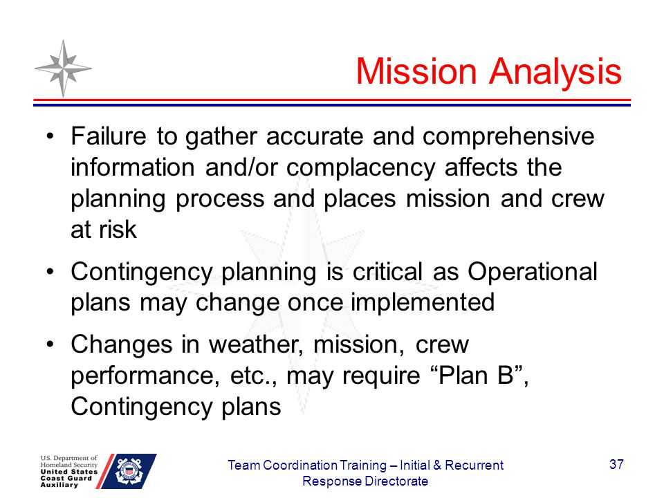 37 Failure to gather accurate and comprehensive information and/or complacency affects the planning process and places mission and crew at risk Contin