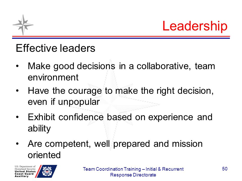 Effective leaders Make good decisions in a collaborative, team environment Have the courage to make the right decision, even if unpopular Exhibit conf