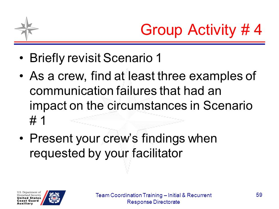 Group Activity # 4 Briefly revisit Scenario 1 As a crew, find at least three examples of communication failures that had an impact on the circumstance