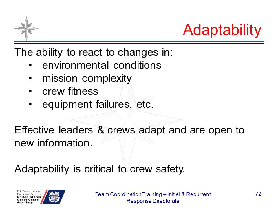 The ability to react to changes in: environmental conditions mission complexity crew fitness equipment failures, etc. Effective leaders & crews adapt