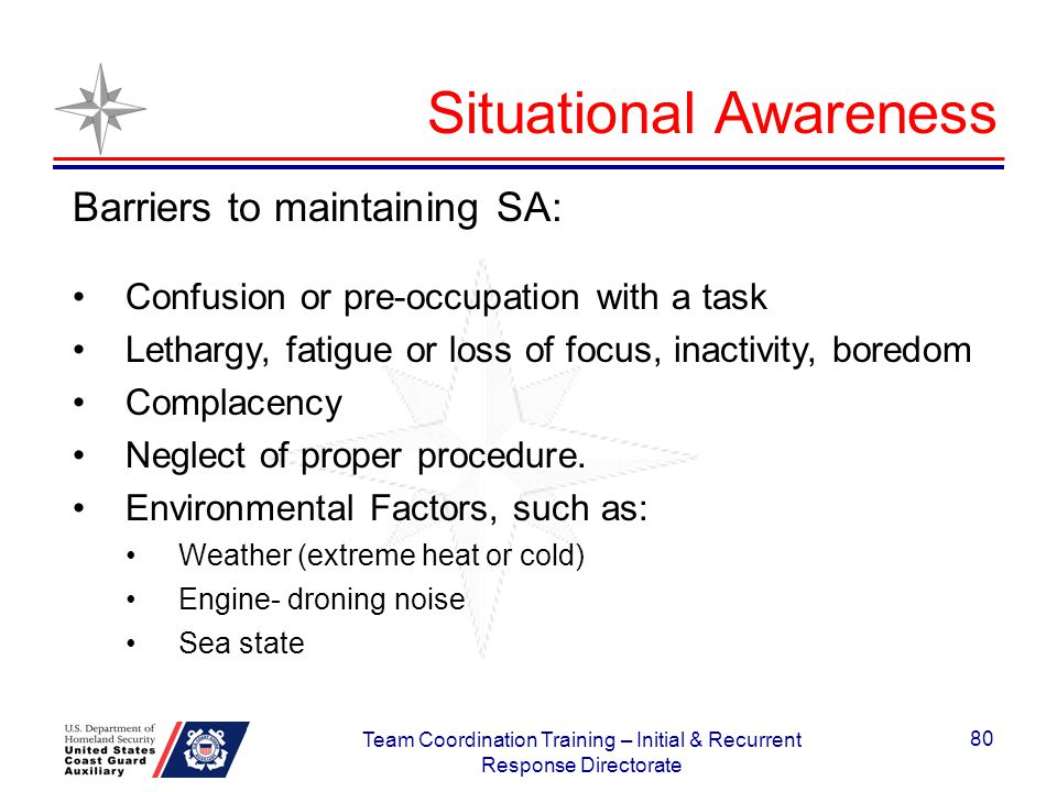 Situational Awareness Barriers to maintaining SA: Confusion or pre-occupation with a task Lethargy, fatigue or loss of focus, inactivity, boredom Comp
