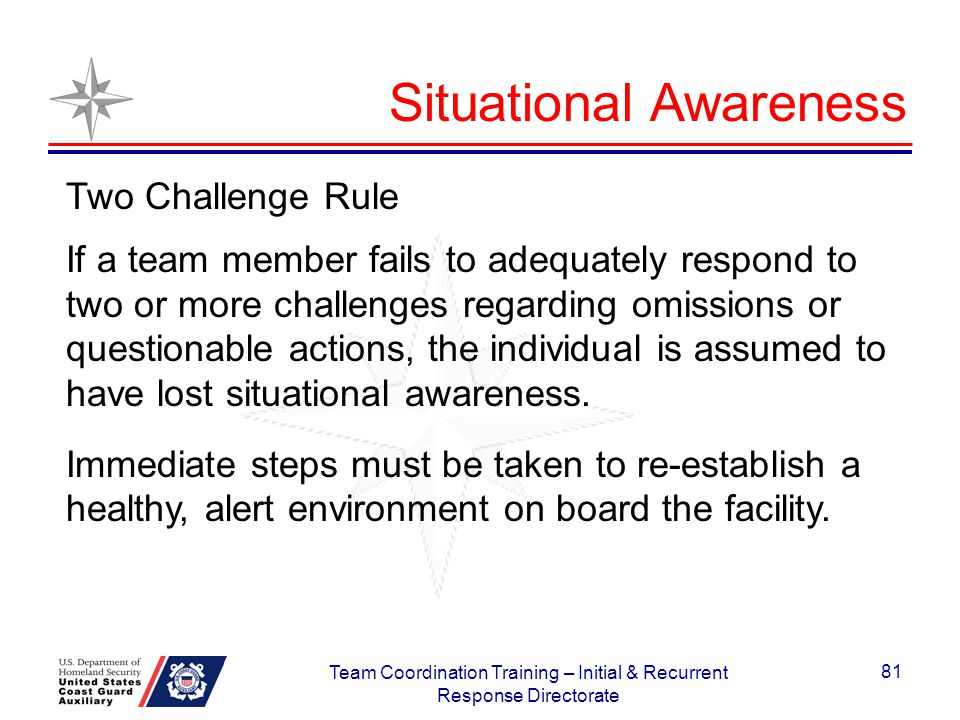 Two Challenge Rule If a team member fails to adequately respond to two or more challenges regarding omissions or questionable actions, the individual