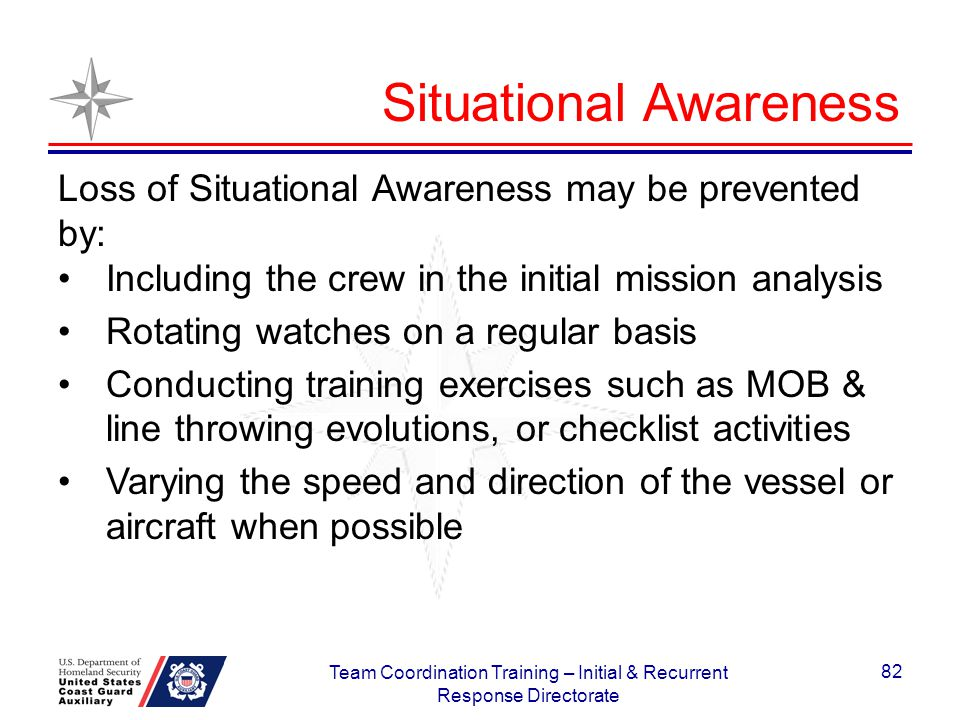 Situational Awareness Loss of Situational Awareness may be prevented by: Including the crew in the initial mission analysis Rotating watches on a regu