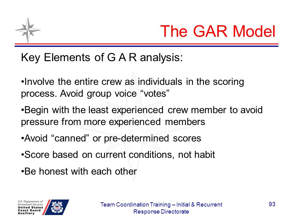 The GAR Model Key Elements of G A R analysis: Involve the entire crew as individuals in the scoring process. Avoid group voice votes Begin with the le