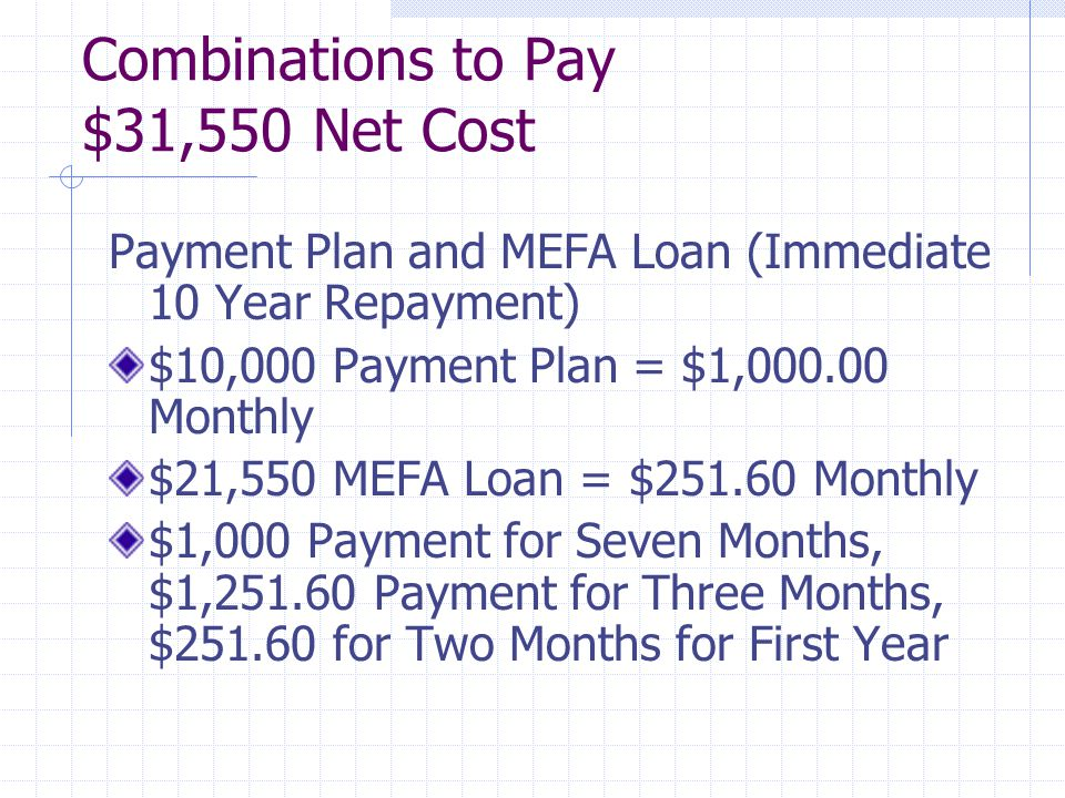 Combinations to Pay $31,550 Net Cost Payment Plan and MEFA Loan (Immediate 10 Year Repayment) $10,000 Payment Plan = $1,000.00 Monthly $21,550 MEFA Loan = $251.60 Monthly $1,000 Payment for Seven Months, $1,251.60 Payment for Three Months, $251.60 for Two Months for First Year