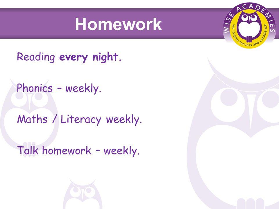 Homework Reading every night. Phonics – weekly. Maths / Literacy weekly. Talk homework – weekly.