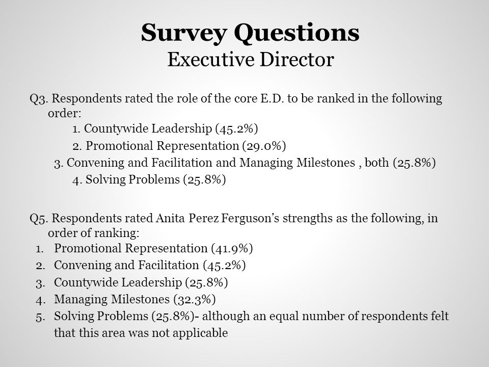 Survey Questions Executive Director Q3. Respondents rated the role of the core E.D. to be ranked in the following order: 1. Countywide Leadership (45.