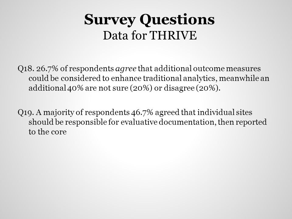 Survey Questions Data for THRIVE Q18. 26.7% of respondents agree that additional outcome measures could be considered to enhance traditional analytics