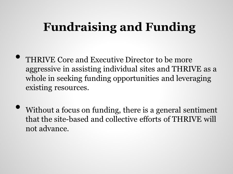 Fundraising and Funding THRIVE Core and Executive Director to be more aggressive in assisting individual sites and THRIVE as a whole in seeking funding opportunities and leveraging existing resources.