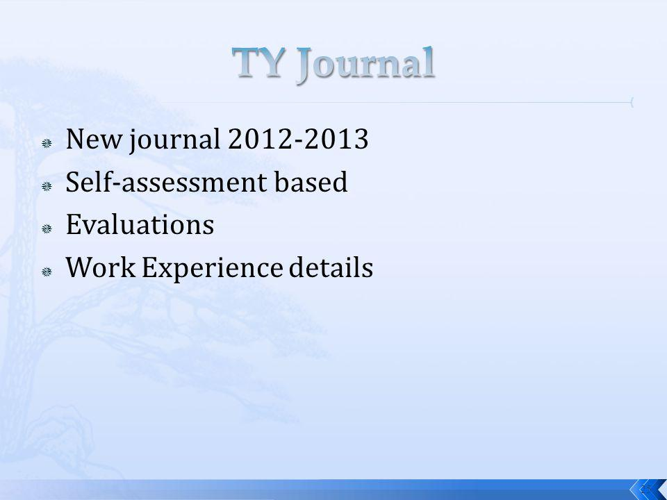 New journal 2012-2013 Self-assessment based Evaluations Work Experience details 25