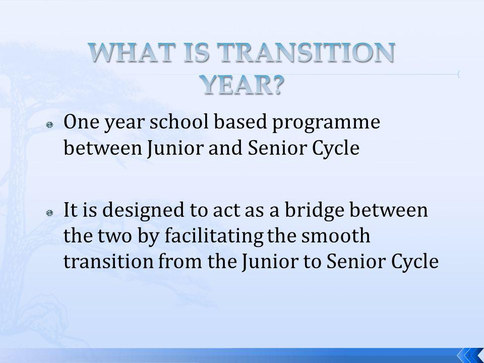 One year school based programme between Junior and Senior Cycle It is designed to act as a bridge between the two by facilitating the smooth transition from the Junior to Senior Cycle 3