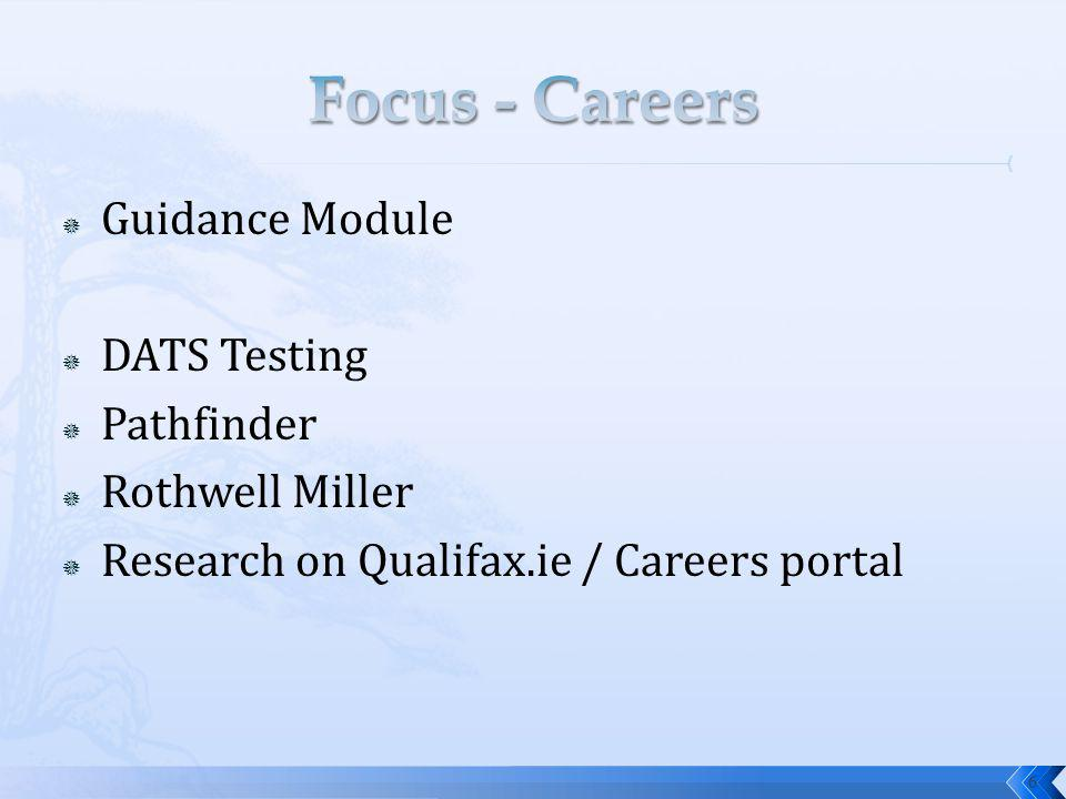 Guidance Module DATS Testing Pathfinder Rothwell Miller Research on Qualifax.ie / Careers portal 6