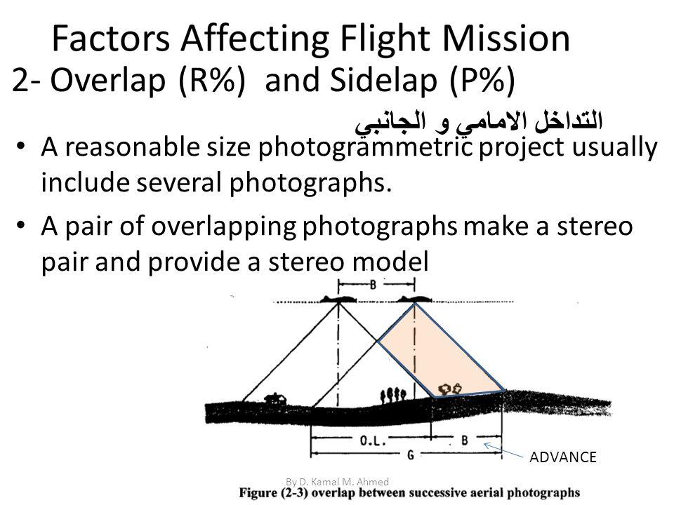 2- Overlap (R%) and Sidelap (P%) By D. Kamal M. Ahmed التداخل الامامي و الجانبي A reasonable size photogrammetric project usually include several phot